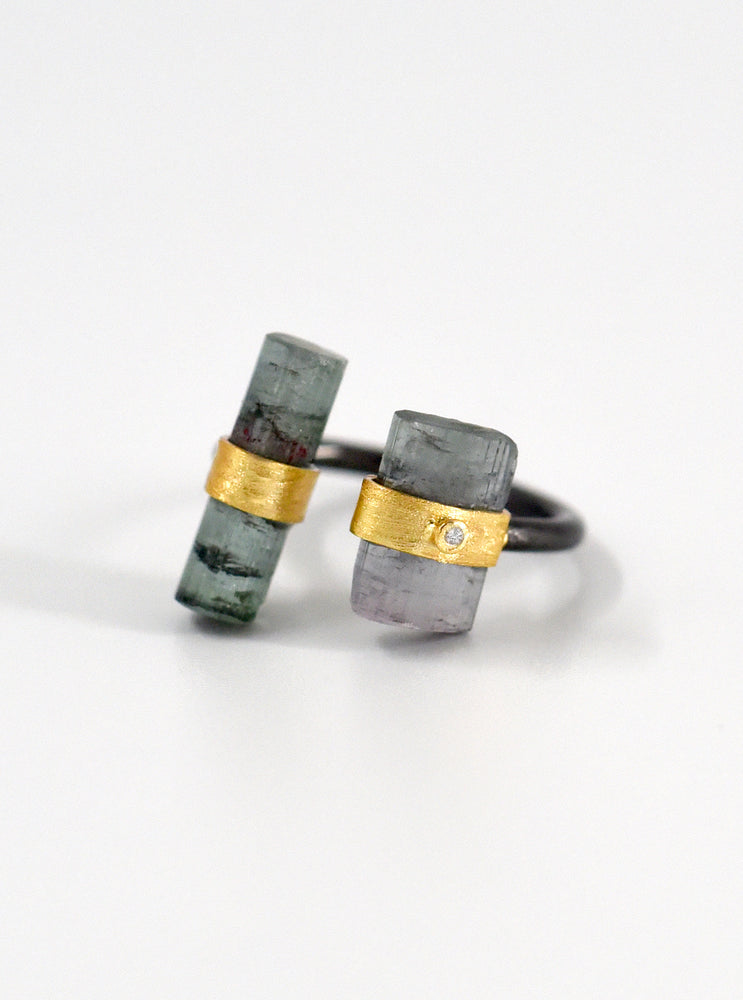 Tourmaline Parallel Double Bar With Diamond Ring
