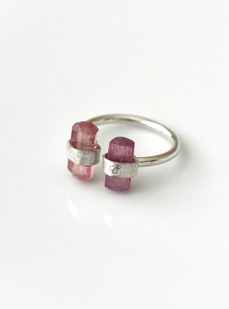 925 Sterling Silver Hand Crafted Double Pink Tourmaline Ring with Diamond