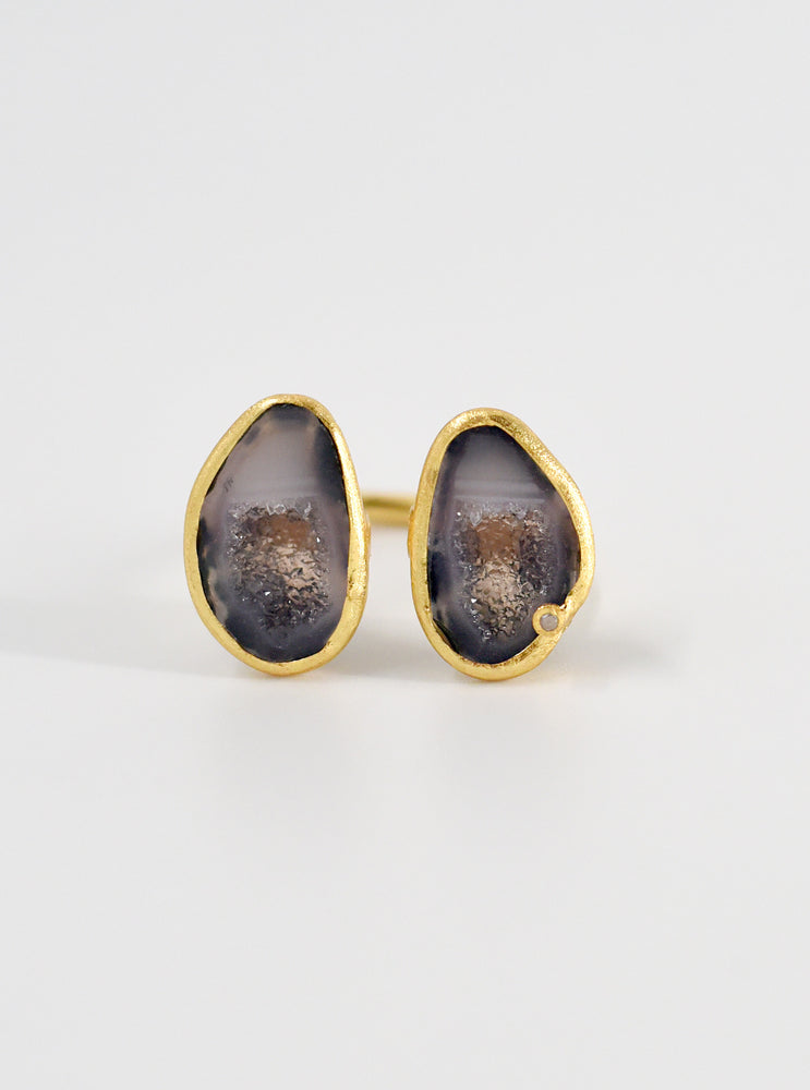 Diamond Double Geode Ring