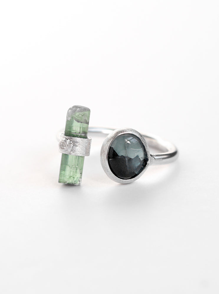 Multi Tourmaline with Diamond Ring