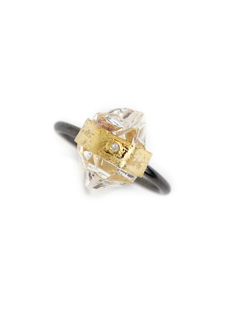 Herkimer Quartz with Diamond Ring