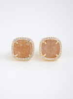 Glitter Druzy Cushion Stud Earrings