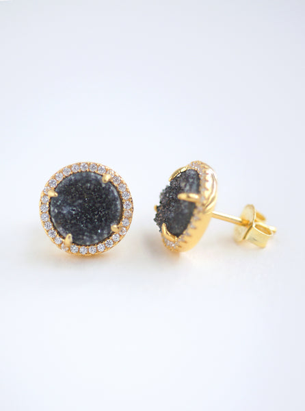 Glitter Druzy Round Stud Earrings