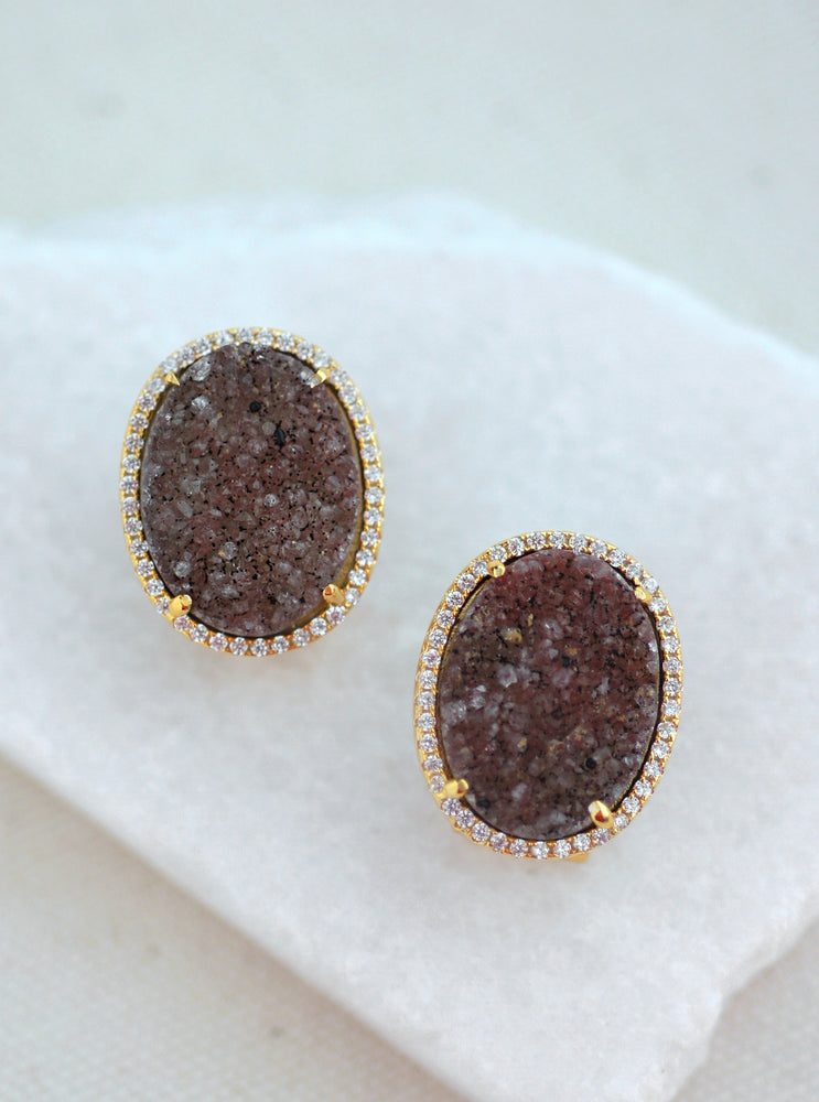Shining Druzy Oval Earrings