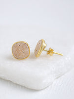 Shining Druzy Cushion Stud Earrings