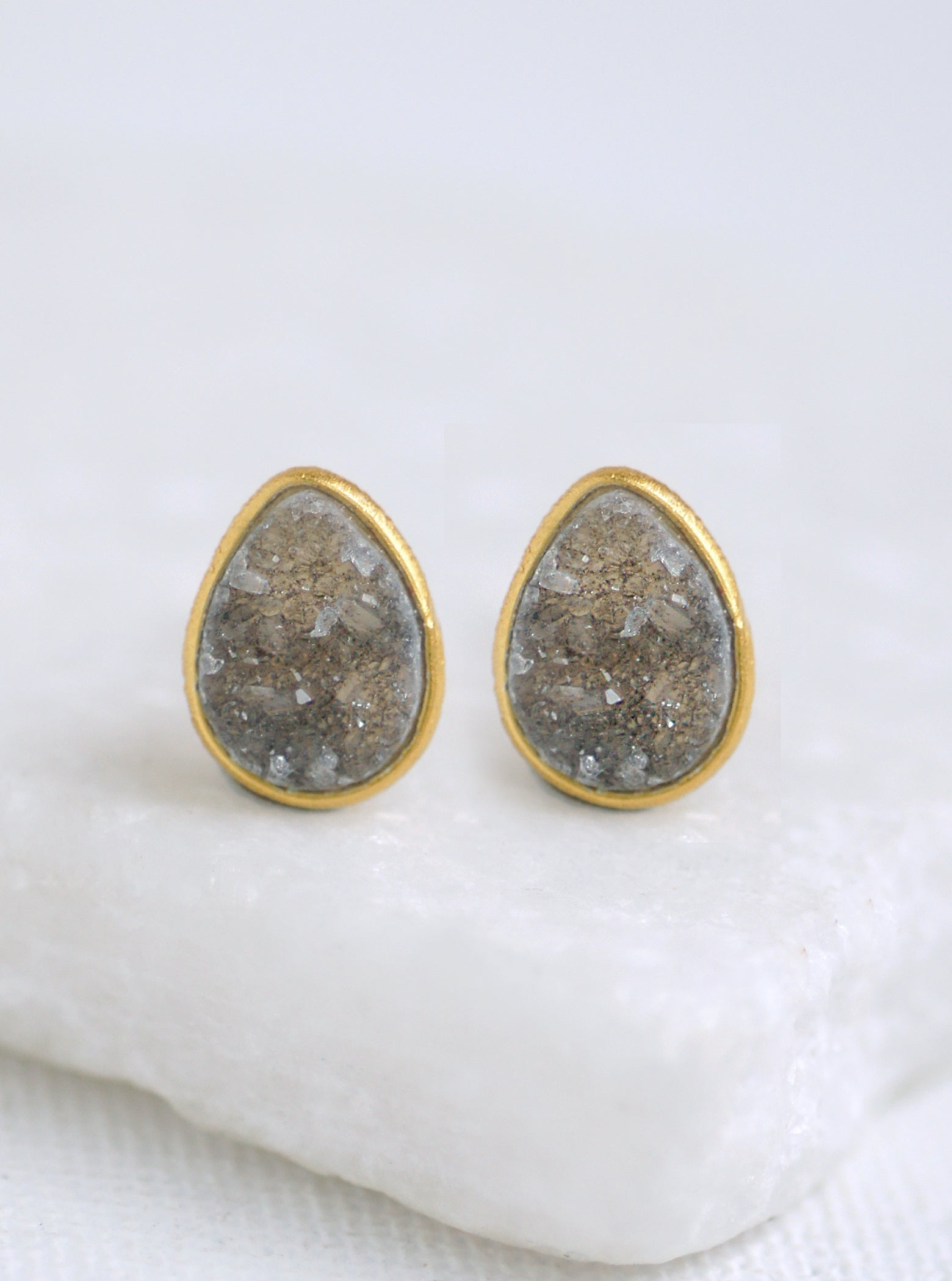 Shining Druzy  Teardrop Stud Earrings