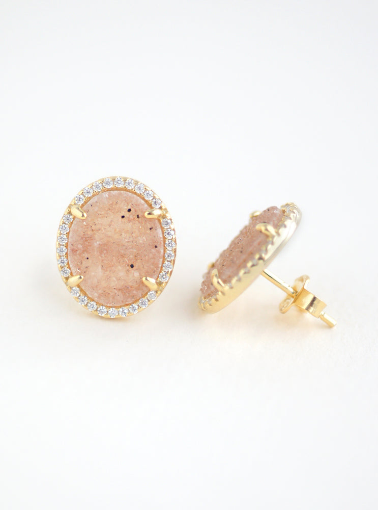 Glitter Druzy Oval Stud Earrings