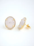 Glitter Druzy Oval Stud Earrings **