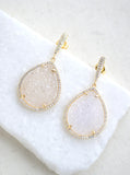 Glitter Druzy Teardrop Dangle Earrings **