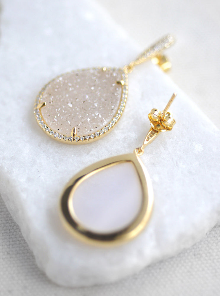 Glitter Druzy Teardrop Dangle Earrings
