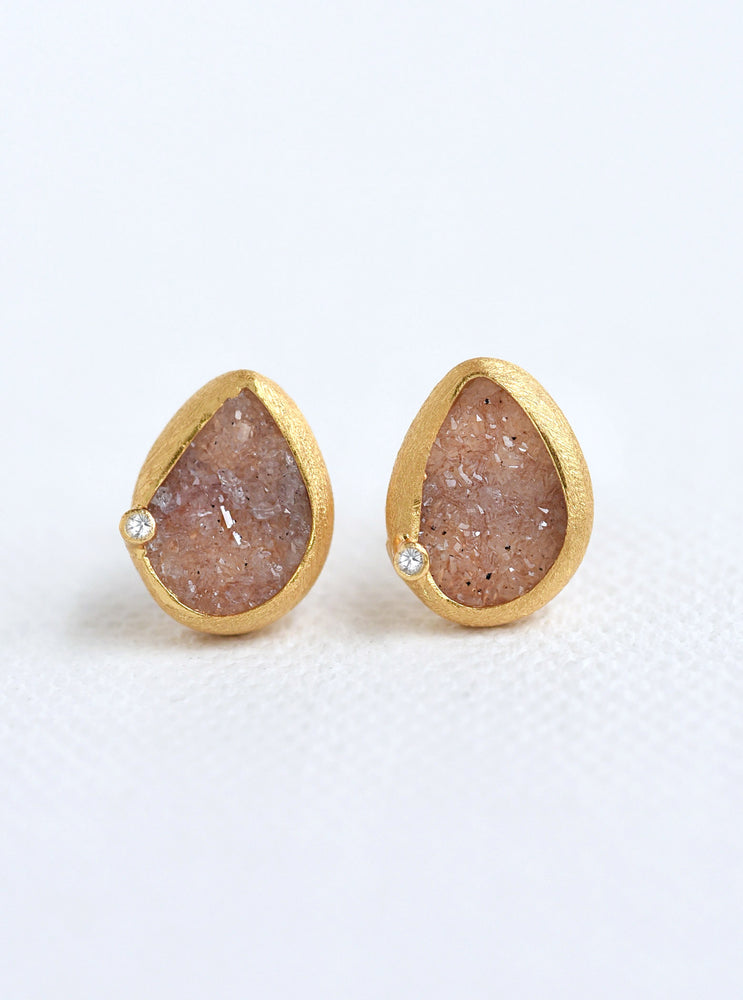 Teardrop Druzy With Genuine Diamond Earring *