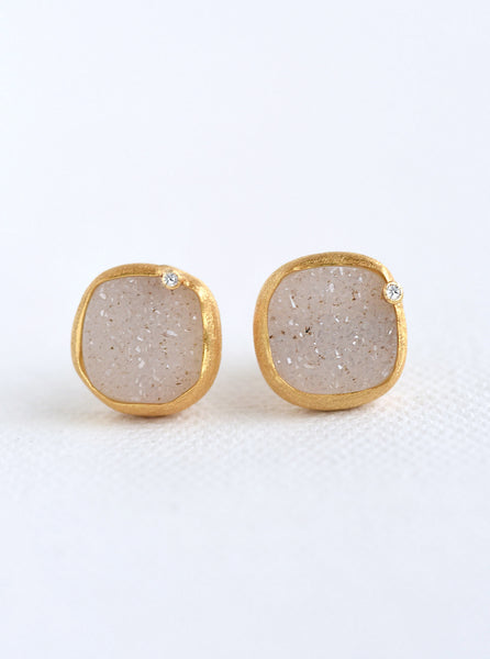 Cushion Druzy With Genuine Diamond Earring*