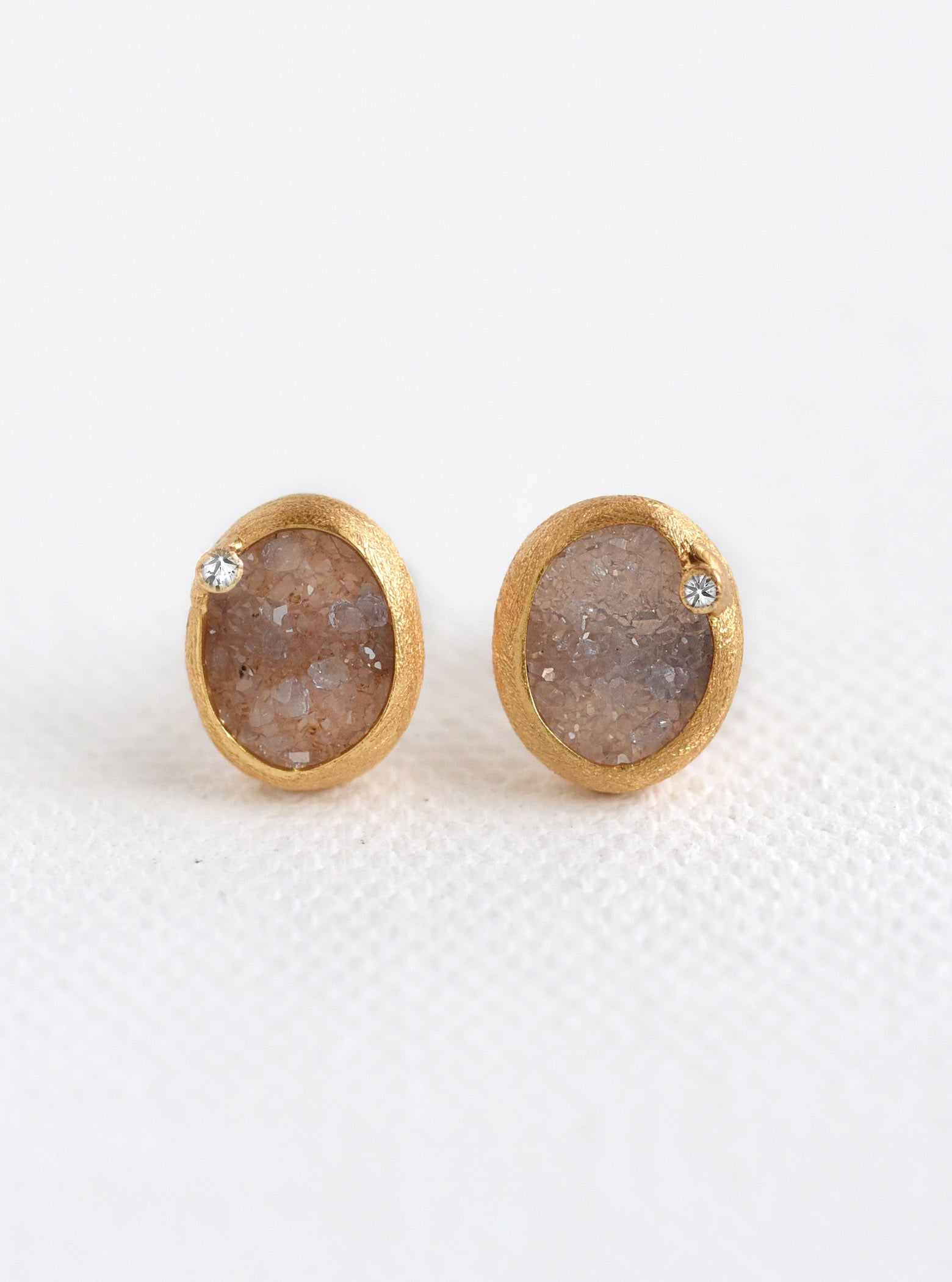 Oval Druzy With Genuine Diamond Earring*
