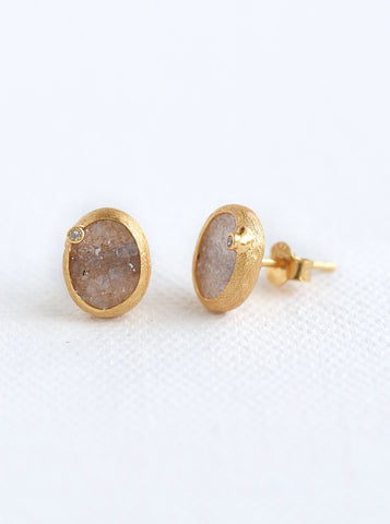 Related product : Oval Druzy With Genuine Diamond Earring*