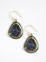 Two Tone Shining Druzy Teardrop Earrings
