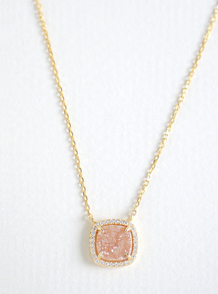 Glitter Druzy Mini Cushion Necklace **