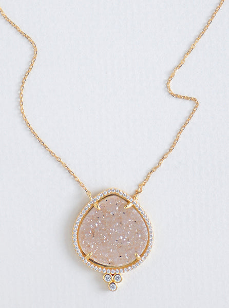 Glitter Druzy Pear and CZ Necklace