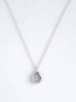 Shining Druzy Small Teardrop Genuine Diamond Necklace