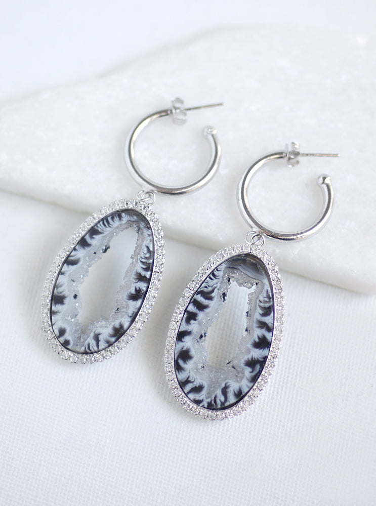 CZ Open Agate Slice Earrings