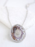 Open Agate Slice Sparkle Necklace