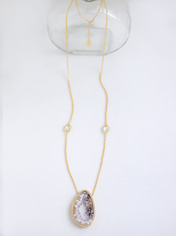Open Agate Slice and Quartz Long Necklace