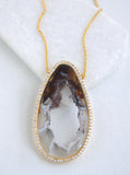 CZ Open Agate Slice Necklace