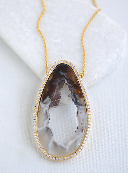 CZ Open Agate Slice Necklace *