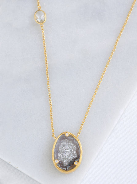 Diamond Open Agate Sparkle Filled Necklace*