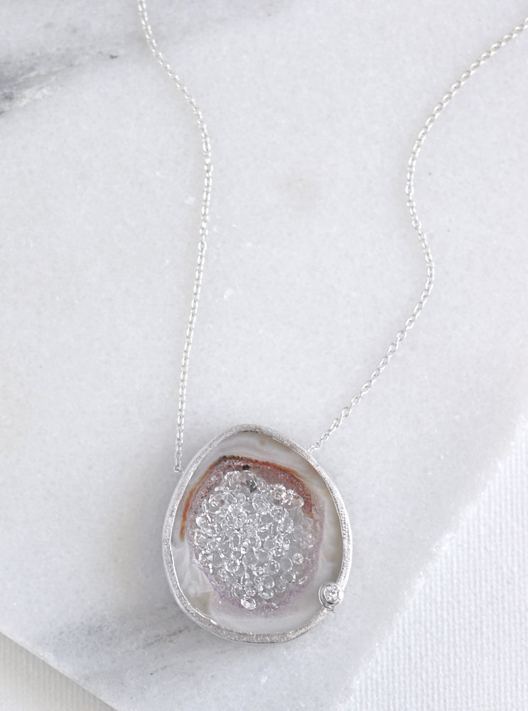 CZ Open Agate Sparkle Filled Necklace