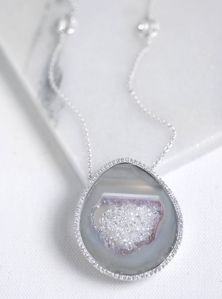 CZ Open Agate Sparkle Filled Long Necklace