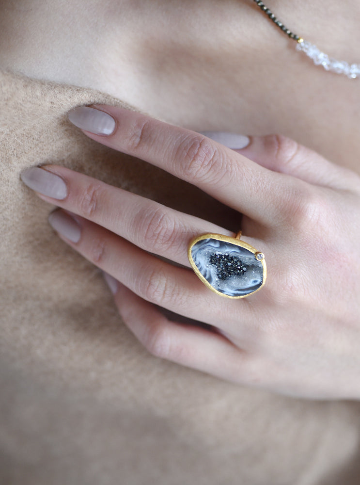 Open Agate With Sparkle CZ Ring