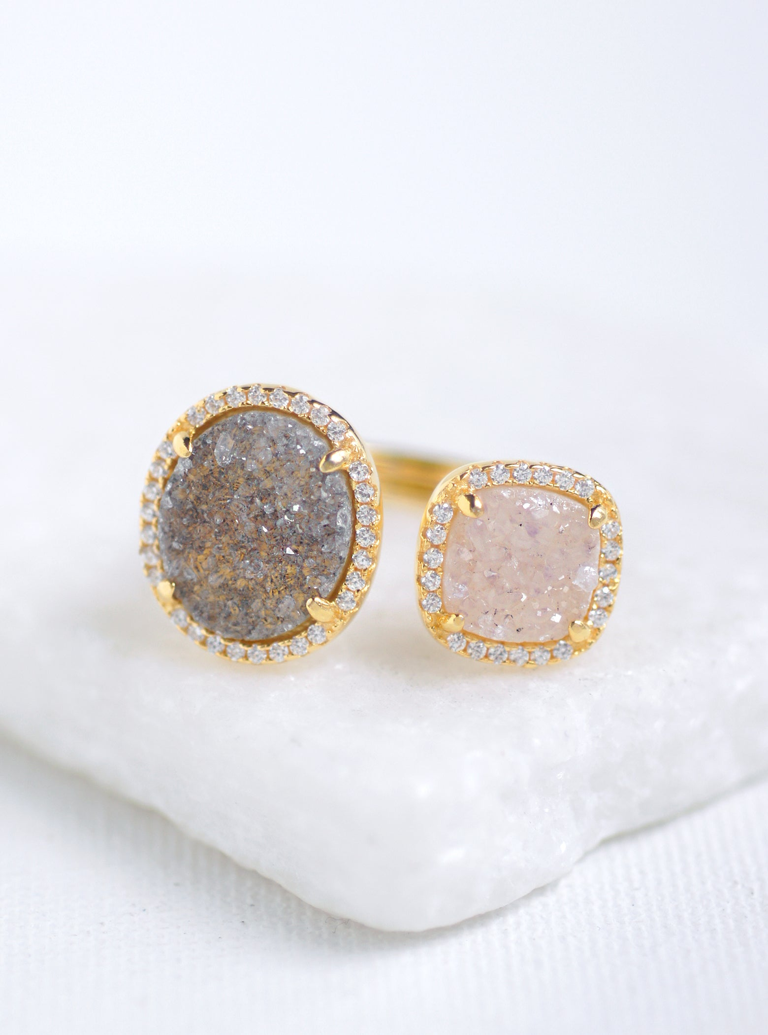 Glitter Druzy Oval and Cushion Ring