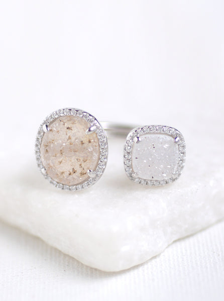 Shining Druzy Oval and Cushion Ring