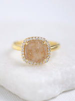 Glitter Druzy Cushion Ring
