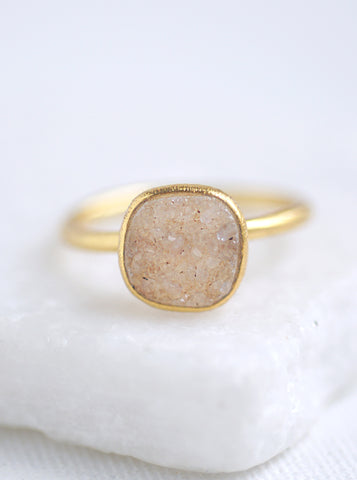 Shining Druzy Cushion Ring