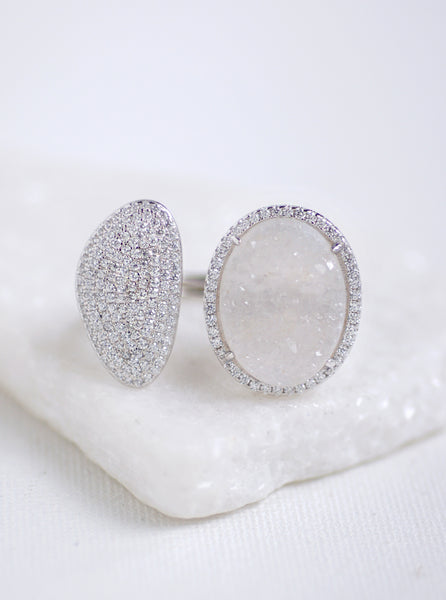 Glitter Druzy Oval and CZ Crescent Double Ring
