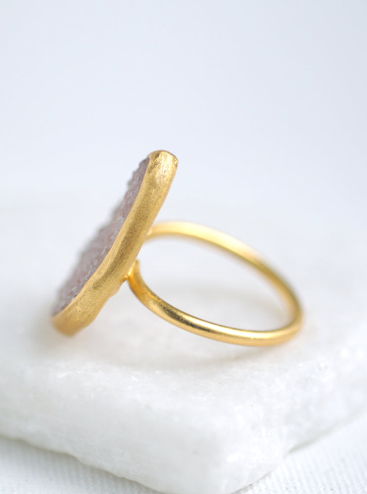 Shining Druzy Statement Teardrop Ring