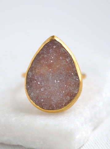 Shining Druzy Statement Teardrop Ring*