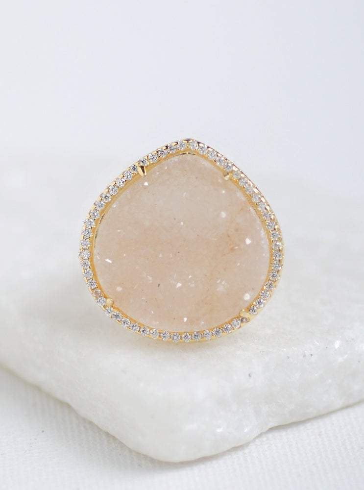 Glitter Druzy Large Teardrop Ring