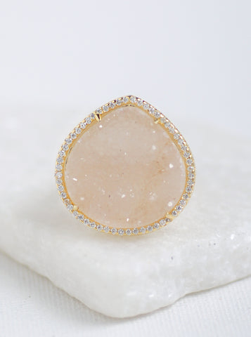 Glitter Druzy Large Teardrop Ring **