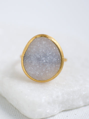 Shining Druzy Egg Ring