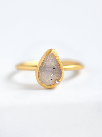Druzy Teardrop with Diamond Ring *