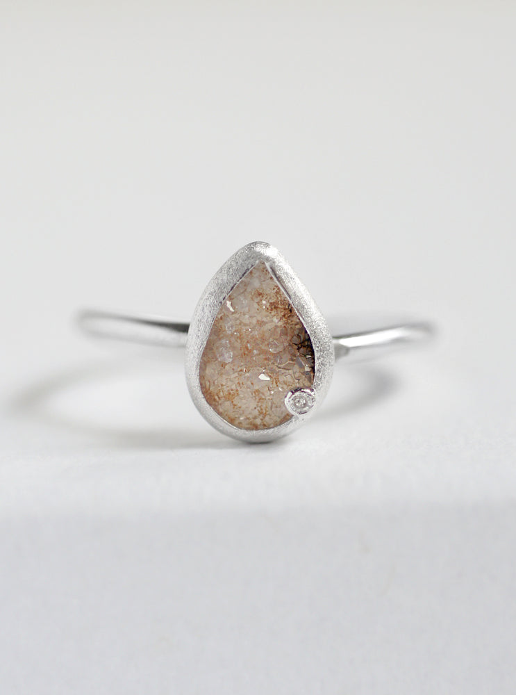 Druzy Teardrop with Diamond Ring