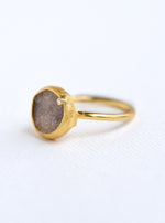 Shining Druzy Small Oval With Genuine Diamond Ring