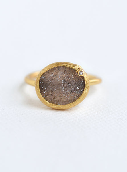 Shining Druzy Small Oval With Genuine Diamond Ring *