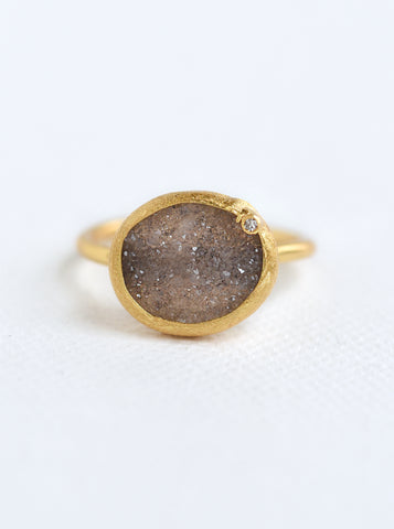 Related product : Shining Druzy Small Oval With Genuine Diamond Ring *