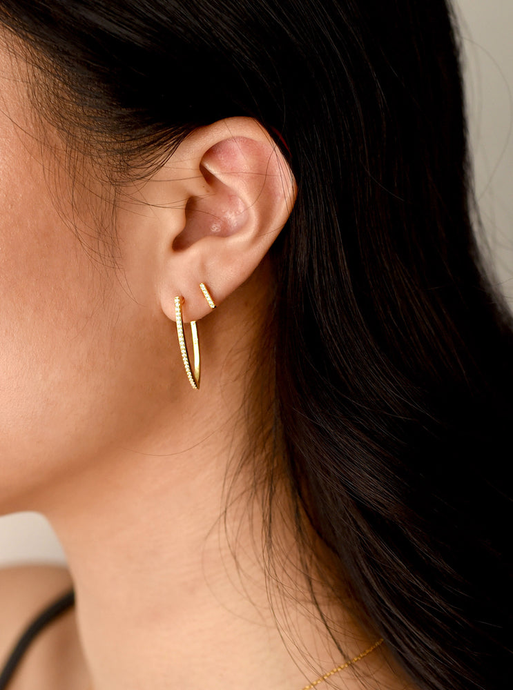 Long V-shaped Huggie Earrings
