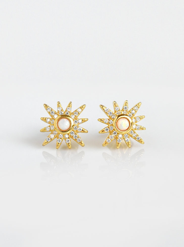Starburst and Opal with CZ Stud Earrings