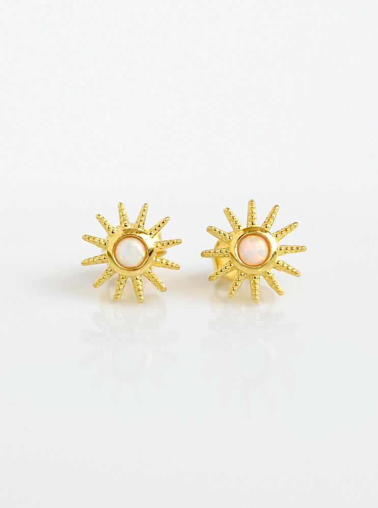 Starburst and Opal Stud Earrings
