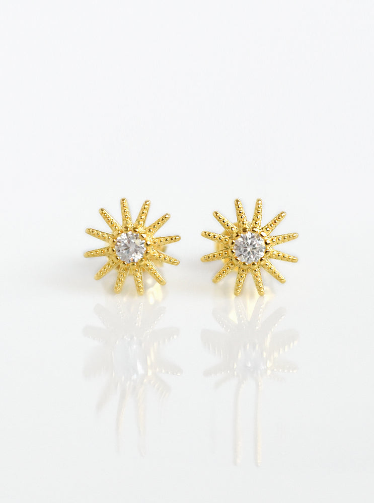 Starburst and Solitaire Stud Earrings